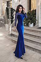 Платье женское с шлейфом электрик с гипюром (5 цветов) ВВ/-0138