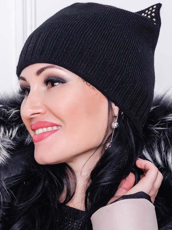 Чорна тепла шапка -Katty-