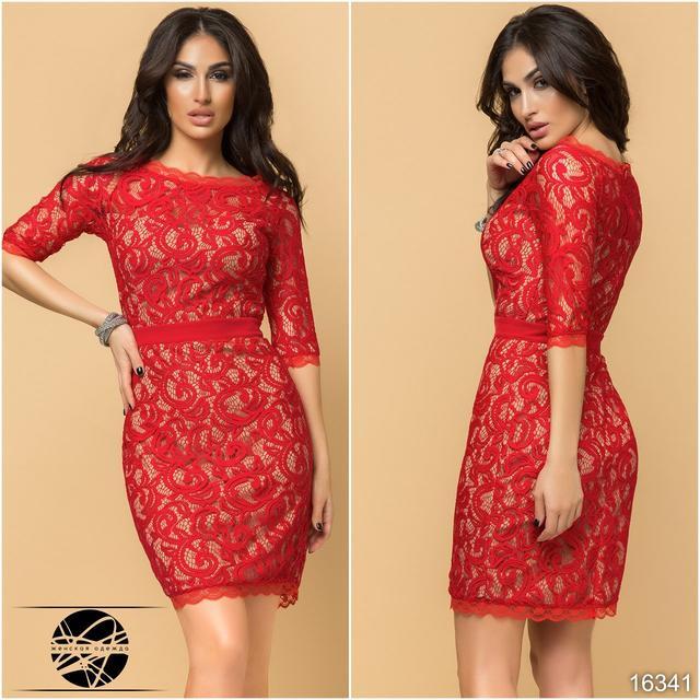 7bbc3b3d168d501 Коктейльное платье с гипюром красного цвета с рукавом до локтя ...