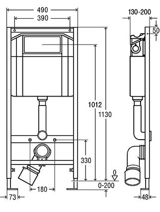 Модуль-бачок Есо Standart для унітазу 1130х490 фронт. КОМ-КТ. хром кнопка 406912, фото 2