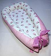 Гнездышко кокон babynest позиционер для новорожденного Рожки, Сатин