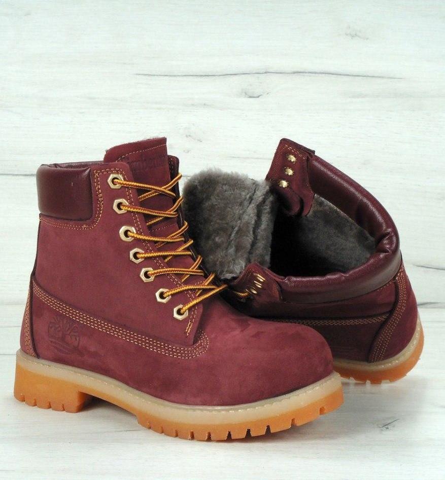 70fd3c09 Зимние ботинки Timberland 6 inch bordo с натуральным мехом (Реплика ААА+)