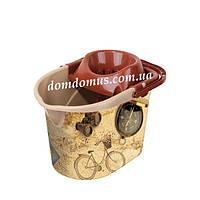 """Ведро Моп с декором для швабры с отжимом """"Pisa"""" Elif Plastik, Турция"""