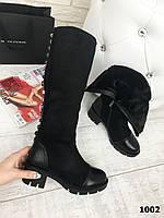 Зимние женские сапоги черные на тракторной подошве эко-замша + эко-кожа каблук 5,5 см