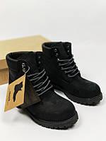 Ботинки мужские Timberland, черные, материал - натуральная кожа+мех
