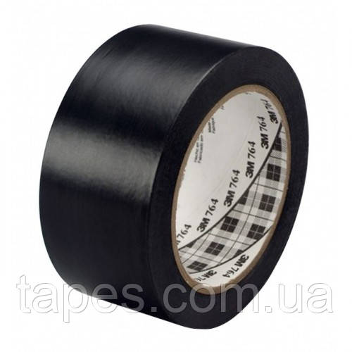 Черный скотч 3М 764 для разметки пола (50мм х 33м х 0,13мм)