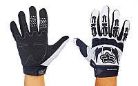 Мотоперчатки текстильные с закрытыми пальцами FOX M-365-BW(M) (р-р M, черный-белый)