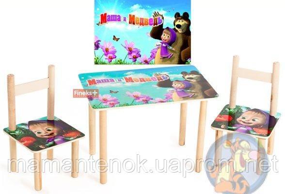 детский стол и 2 стула маша и медведь цена 600 грн купить