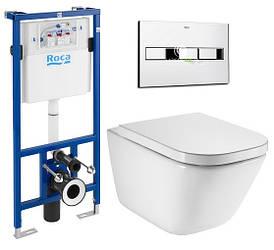 Комплект: Roca GAP Rimless унитаз подвесной, PRO инсталяция для унитаза, кнопка, сиденье твердое slow-closing
