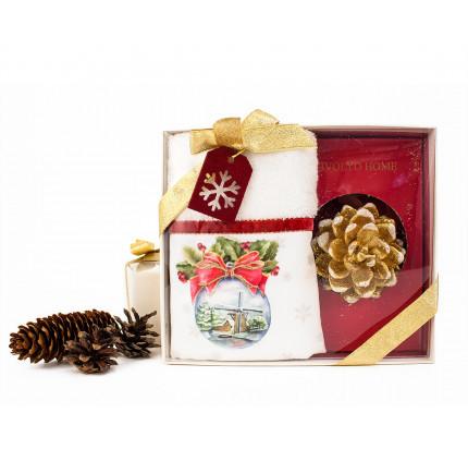 Tivolyo Home набор SNOWBELL VELVET 2 предмета полотенце+свеча