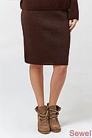 Теплая вязаная женская юбка с люрексом