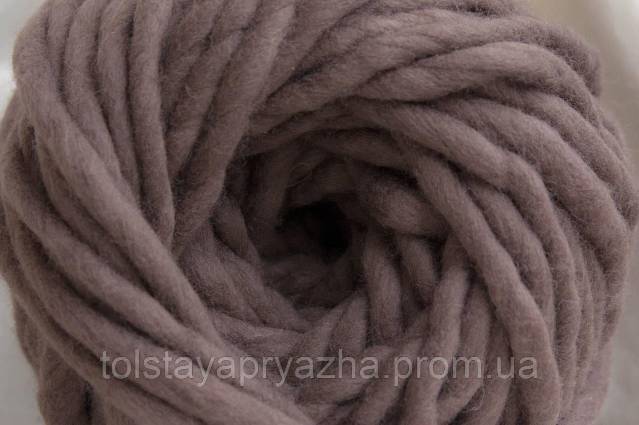Товста пряжа ручного прядіння Elina Tolina 100% вовна (оброблена) сіро-коричневий