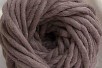 Толстая пряжа ручного прядения 100% шерсть (обработана) серо-коричневый