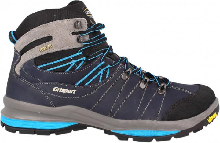 Ботинки высокие мужские синие на шнурках зимние из прочной кожи