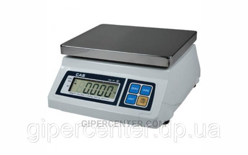 Весы фасовочные CAS SW-2 до 2 кг; дискретность 0,5/1 г, платформа из нержавеющей стали