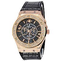 Мужские наручные часы Hublot 882888 Classic Fusion Crystal Black-Gold-Black, Хублот классик