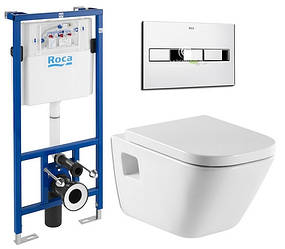 Комплект: Roca GAP подвесной унитаз,сиденье твердое slow-closing, PRO инсталляция для унитаза, PRO кнопка