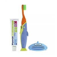 Набор детский Pierrot Kit dental infantil Sharky, зубная паста, зубная щетка, пресс, оранжевый с синим,Ref.335