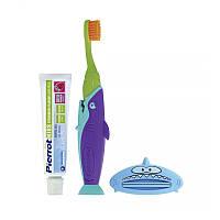 Набор детский Pierrot Kit dental Sharky, зубная паста, зубная щетка, пресс, зеленый с фиолетовым, Ref.335