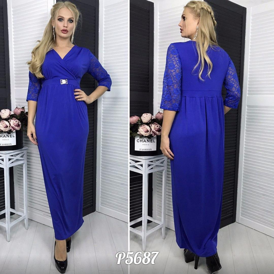 d9e6f65d546 Длинное женское платье верх на запах ткань микро дайвинг про-ва Турции  рукава-гипюр Размер 48-50