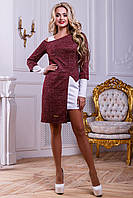 Платье и туника женская, оригинальный комплект, трикотаж, белый/марсала, размеры 42-48