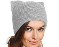 Женская зимняя шапка Кошка двойная вязка, цвет серый