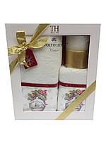 Новорічний набір кухонних рушників +свічка Tivolyo Home, фото 1