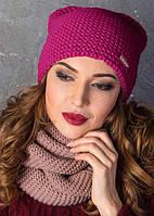 Женская зимняя теплая шапка Ушки на флисе, цвет розовый