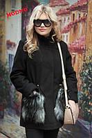 Женская кашемировая парка с искуственным мехом на карманах черная