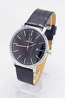 Мужские наручные часы Omega (серебристый корпус, черный ремешок) (Копия), фото 1