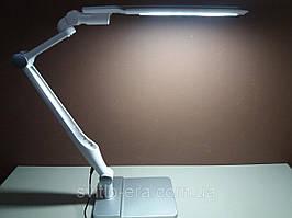 Настольная Лампа ЛЕД (струбцина в комплекте) мощность 10вт (сенсор +димер) серебро+белый