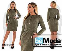 Деловое женское платье больших размеров из ангоры с люрексом с пуговицами впереди коричневое