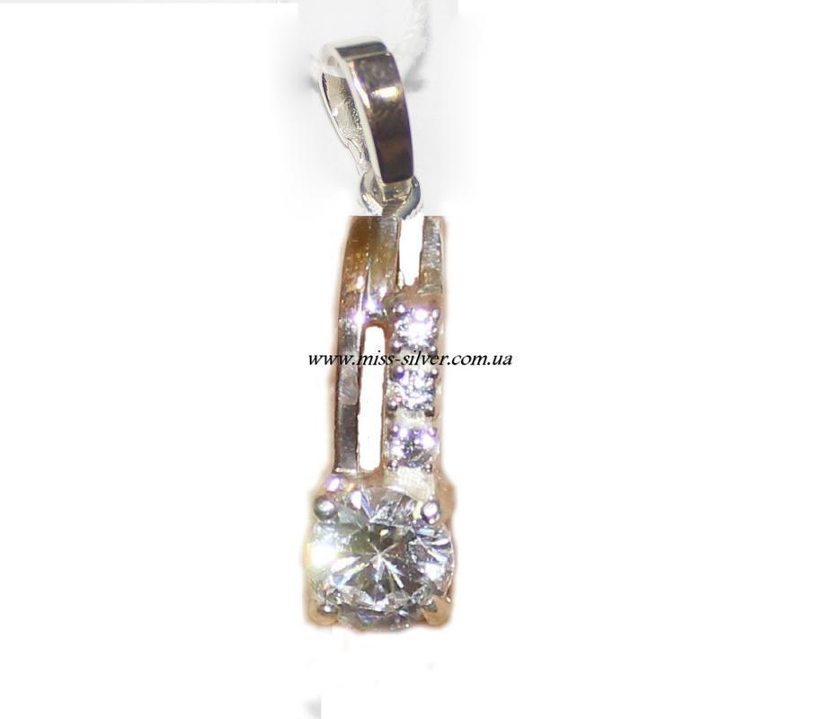 Кулон из серебра с золотом и цирконами Кристина