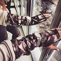 Женские кожаные перчатки-митенки из экокожи 18AK1, фото 1