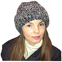 Женская вязаная шапка с двумя отворотами, объемной ручной вязки