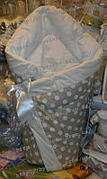 """Конверт-одеяло на выписку на липучке с красивым бантом (зимний-демисезонный), 90х90- """"Беж горошек"""""""