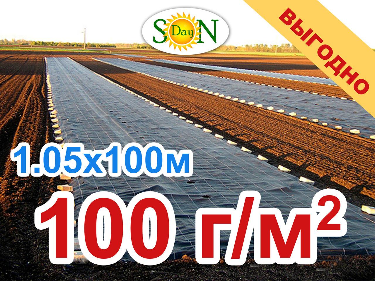 Агроткань 1,05*100м 100г/м.кв. Черная, плотная. Мульчирование почвы