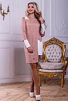 Оригинальный комплект, платье и туника,трикотаж, белый/персиковый, размер 48