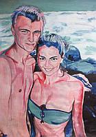 Рисунок на ватмане гуашью по фотографии в подарок девушке на первом свидании