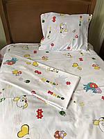 """Детский комплект в кроватку из Ранфорса 110х140""""Сказка"""" на белом фоне"""