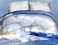 Комплект постельного белья  Лебеди на зимнем пруду.  Двуспальный. Сатин 3Д