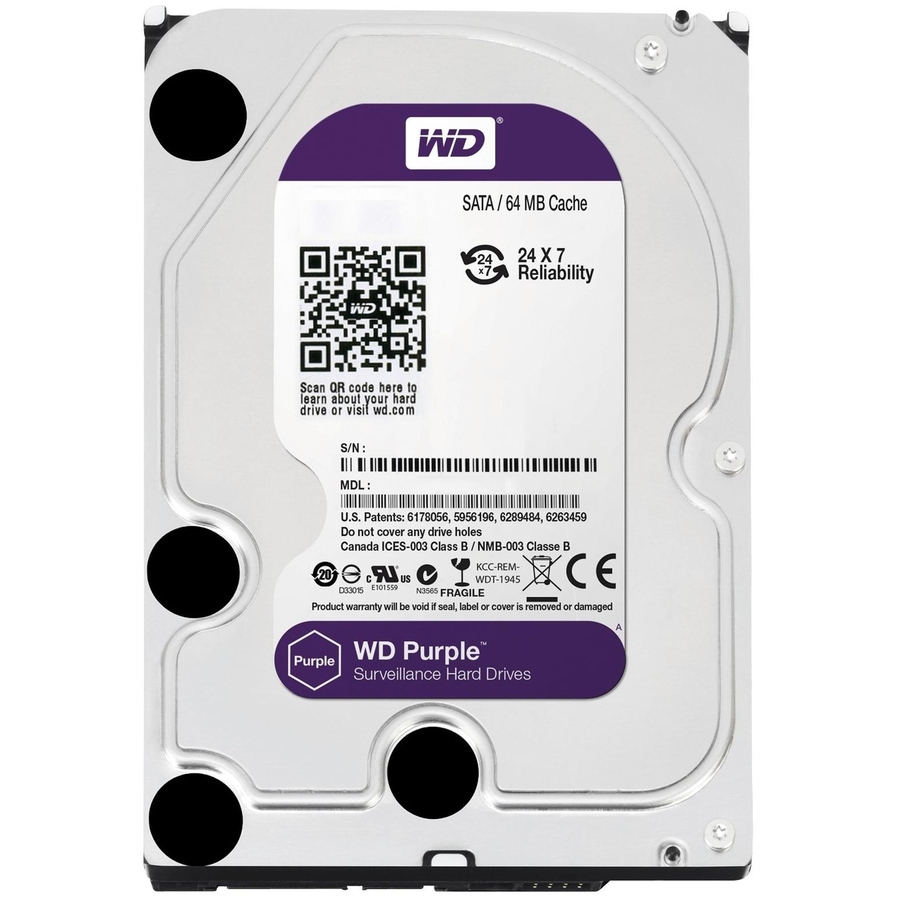 Жесткий диск Western Digital Purple 3ТБ WD30PURZ(PURX)