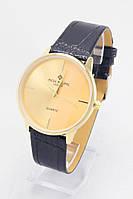 Мужские наручные часы Patek Philippe (золотой циферблат, черный ремешок)