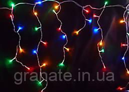 "Внутренняя Гирлянда ""Бахрома"" 120 LED цветная, 3x0.7 м, белый провод"