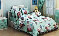 """Детский комплект постельного белья в кроватку из бязи Голд"""" Грузовики"""" (голубые)"""