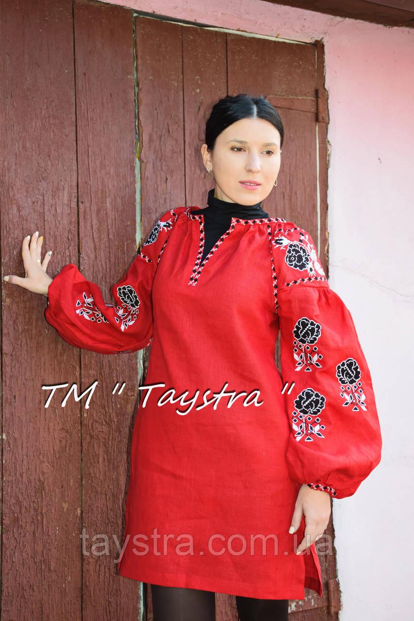 Вышитая туника красное платье лен, вышиванка бохо стиль , Bohemian, этно, туника в Бохо-стиле