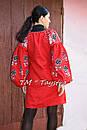 Вышитая туника красное платье лен, вышиванка бохо стиль , Bohemian, этно, туника в Бохо-стиле , фото 3