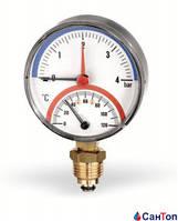 """Термоманометр радиальный WATTS F+R828 1/2"""" НР (80 мм, 0-120 °C, 0-2,5 бар) с автоматическим запорным клапаном"""