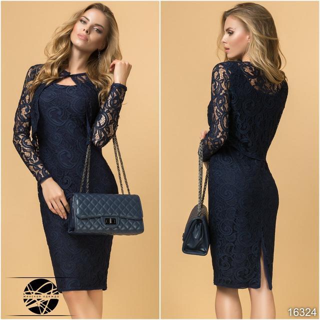 df1ee517d07a0 Стильный вечерний комплект: платье без рукава и болеро темно-синего цвета,  выполненные из гипюра. Платье прилегающего силуэта с округлым вырезом на ...