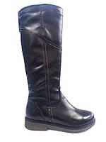 Кожаные женские зимние черные сапоги Romax М5206